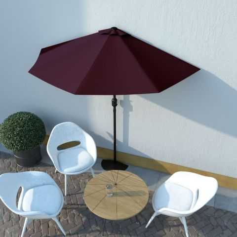 Балконски чадър с алуминиев прът бордо 270x135x245 см половин