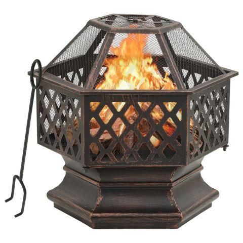 Рустик преносимо огнище с ръжен, 62x54x56 см, XXL, стомана