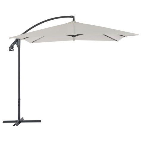 Градински чадър чупещо рамо и стоманен прът 250x250 см червен