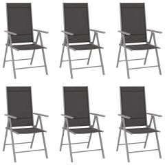 Сгъваеми градински столове, 6 бр, Textilene, черни