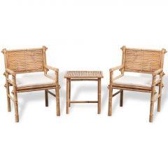 Бистро комплект от 3 части с възглавници, бамбук