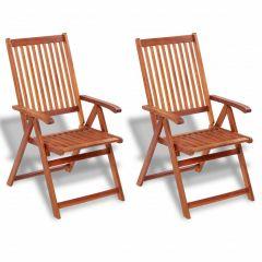 Сгъваеми градински столове, 2 бр, акация масив, кафяви