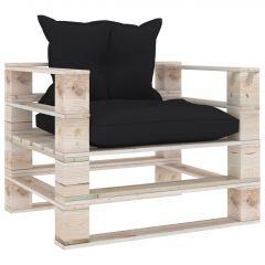 Градински палетен диван с черни възглавници