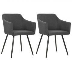 Трапезни столове, 2 бр, тъмносиви, текстил