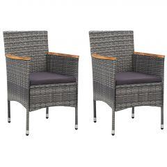 Градински трапезни столове, 2 бр, полиратан, сиви