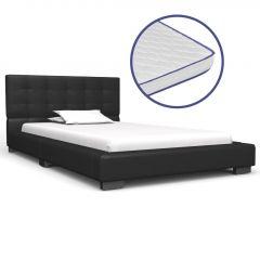 Легло с матрак от мемори пяна черно изкуствена кожа 90x200 см