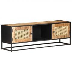 ТВ шкаф, 120x30x40 см, грубо манго и естествена тръстика