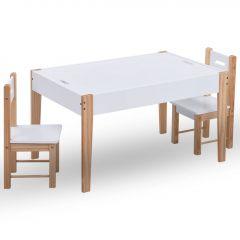 Детска маса със столчета за рисуване, 3 части, черно и бяло