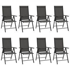 Сгъваеми градински столове, 8 бр, Textilene, черни
