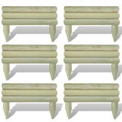 Мини оградни панели за лехи, 6 бр, борова дървесина, 60 см