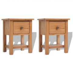 Нощни шкафчета, 2 бр, 36x30x47 см, дъбов масив