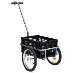 Ремарке за велосипед с 50 л сгъваема товарна кутия черно 150 кг