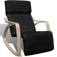 Люлеещ се стол, черен, извито дърво и текстил