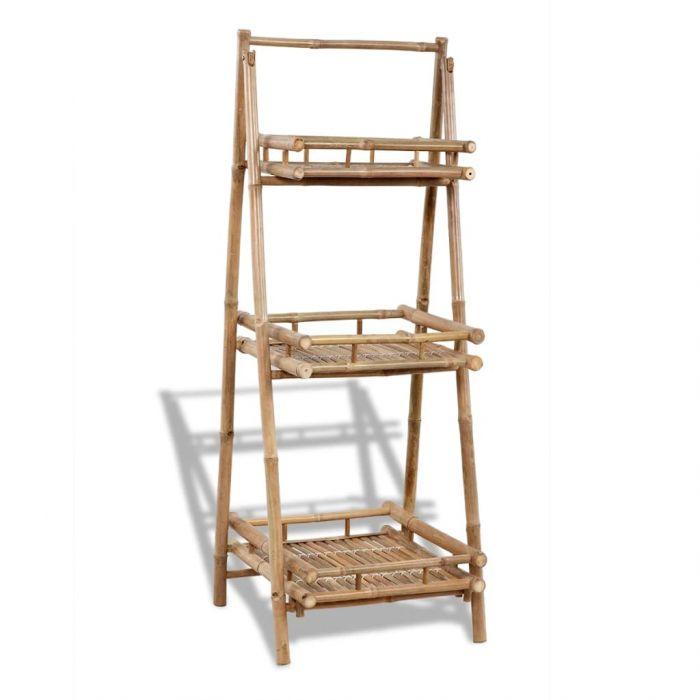 Сгъваема бамбукова поставка за растения с 3 рафта
