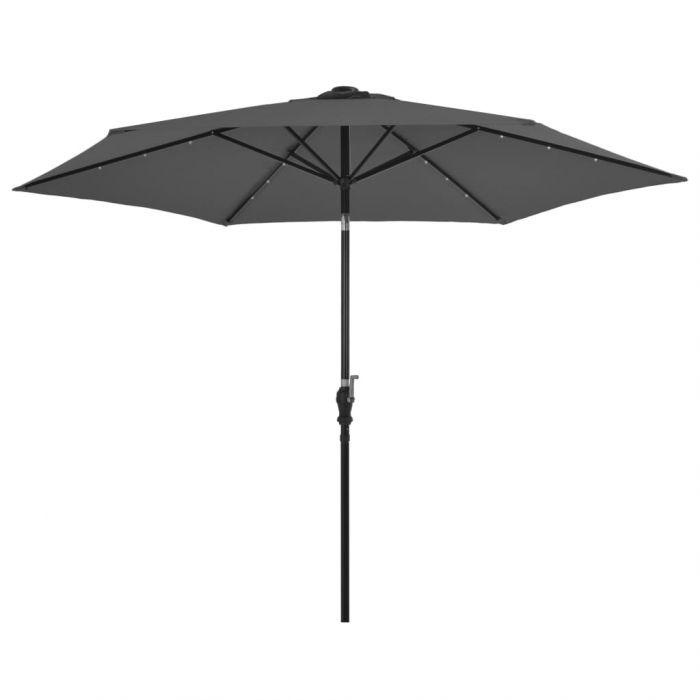 Градински чадър с LED лампички и стоманен прът