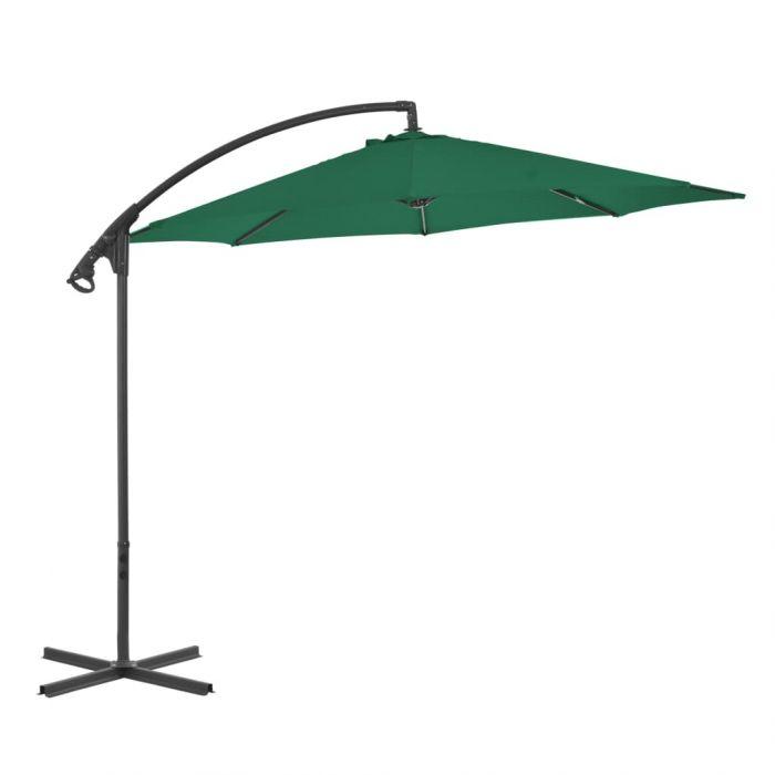 Градински чадър чупещо рамо и стоманен прът 300 см бордо