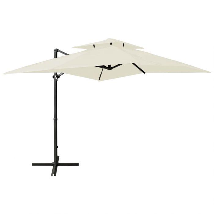 Градински чадър чупещо рамо с двоен покрив 250x250 см пясъчен