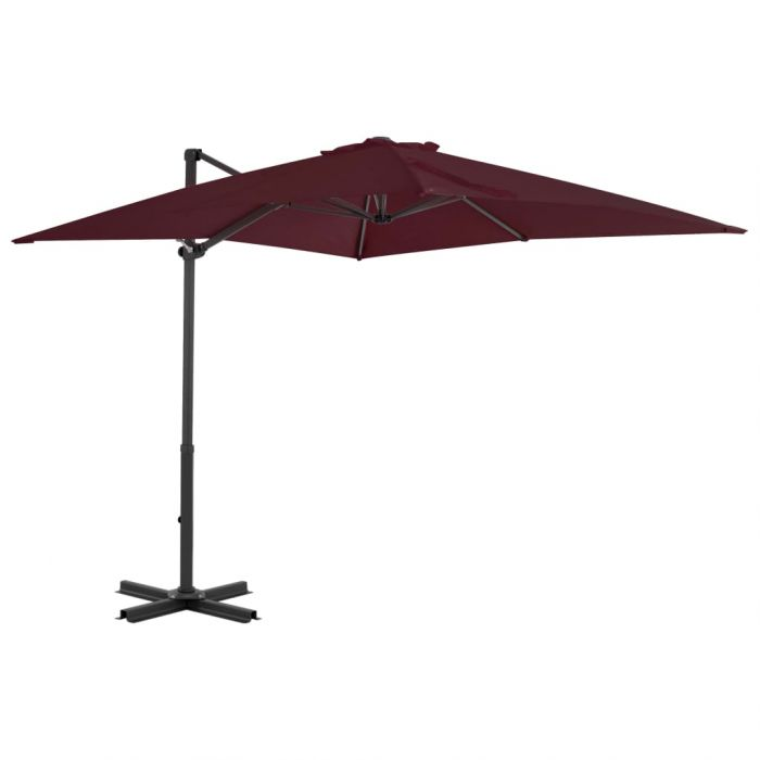 Градински чадър чупещо рамо и алуминиев прът бордо 250x250 см