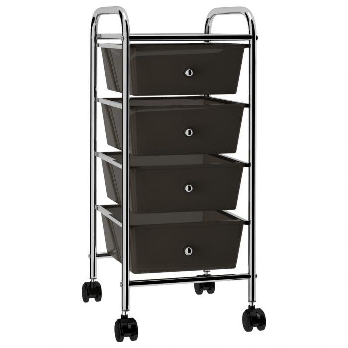 Мобилна количка за съхранение с 4 чекмеджета черна пластмаса