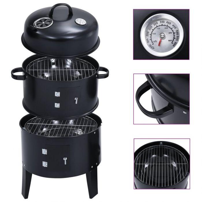 Опушвач барбекю грил на дървени въглища 3-в-1 40x80 см