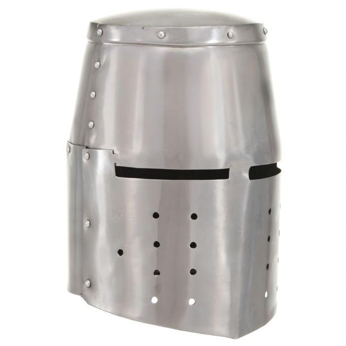 Средновековен рицарски шлем антик реплика ЛАРП сребрист стомана
