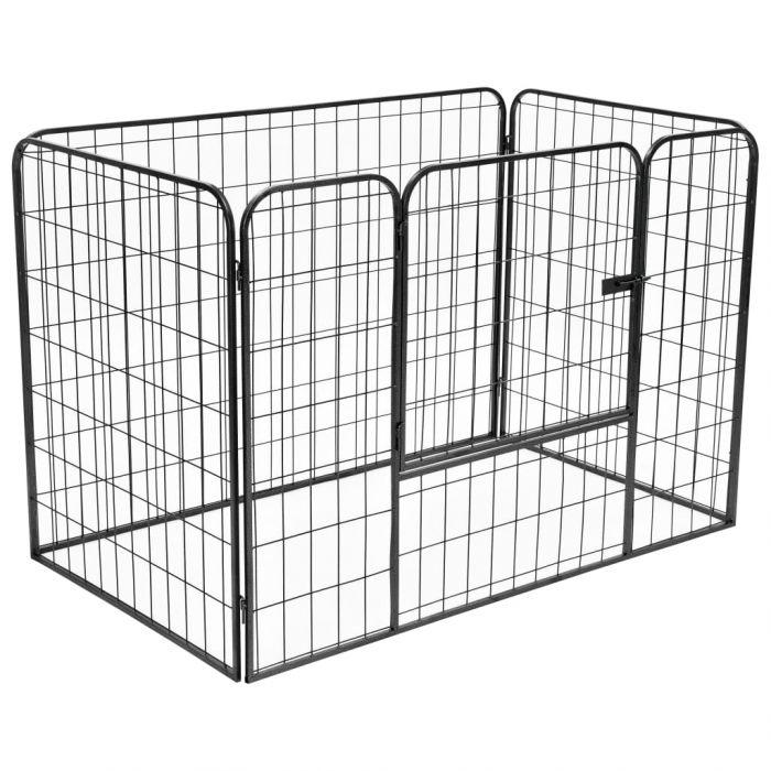 Подсилено заграждение за кучета, черно, 120x80x70 см, стомана