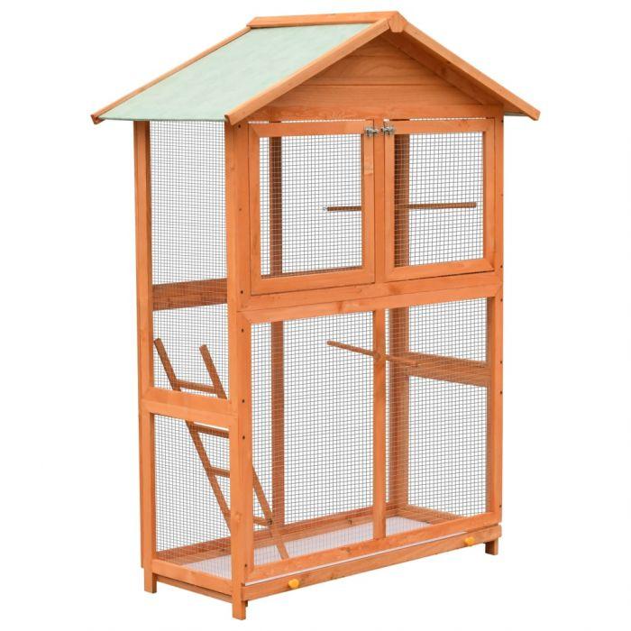 Клетка за птици, чам и ела масив, 120x60x168 см