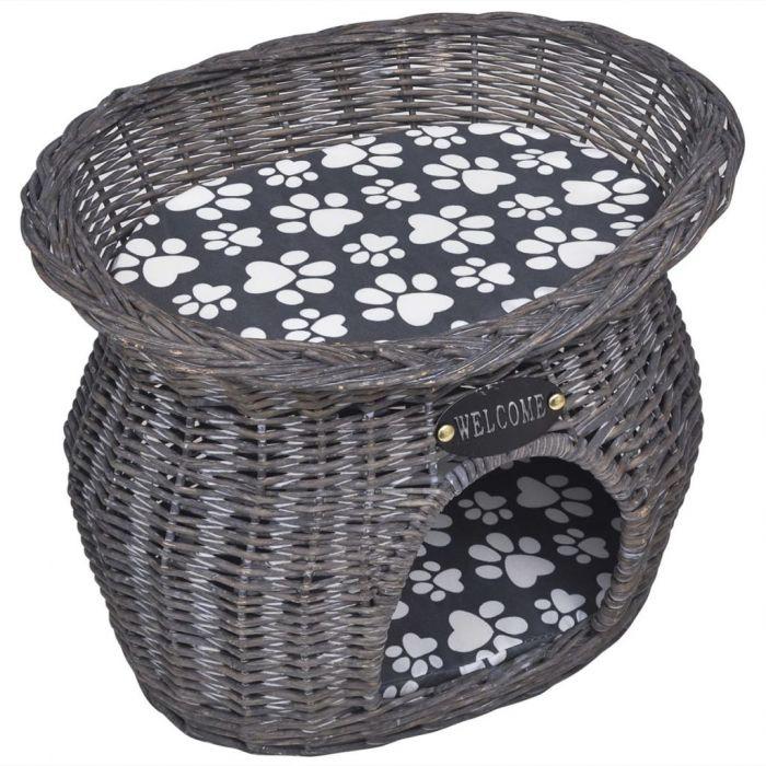 Къща/легло/стълб за точене на нокти за котки от върба с възглавница