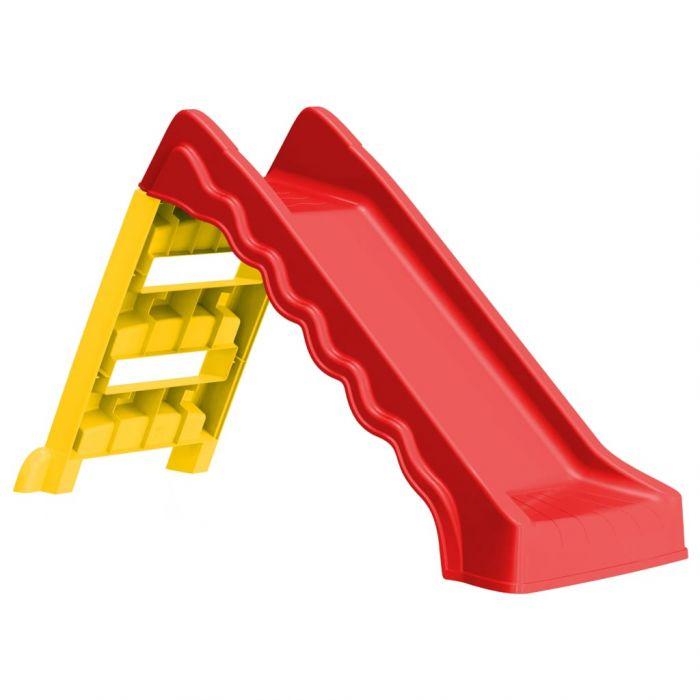 Сгъваема пързалка за деца, за закрито/открито, червено и жълто