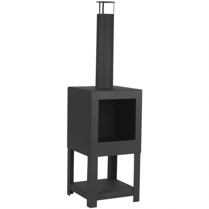 Esschert Design Външна камина с място за дърва, черна, FF410