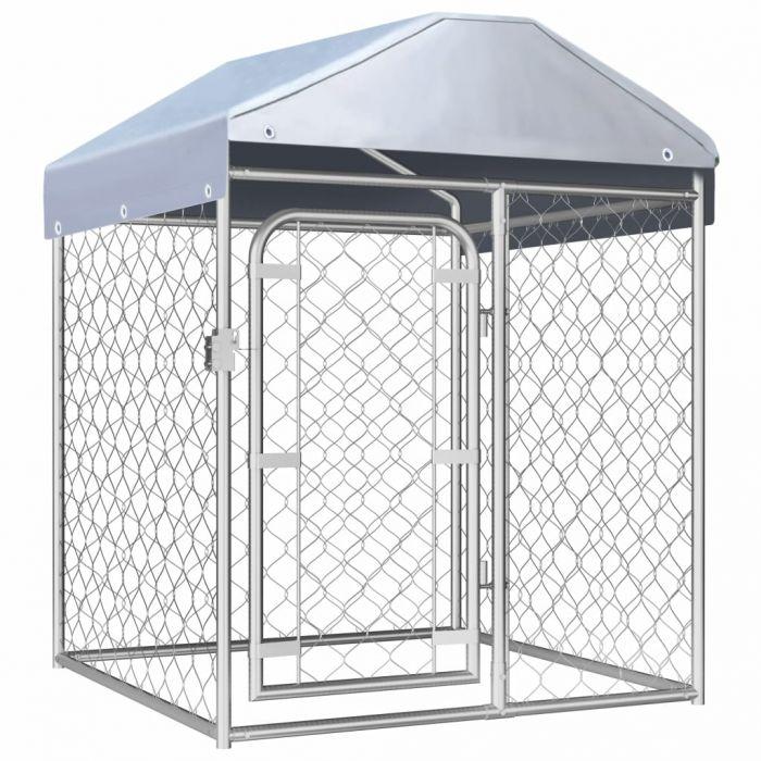 Външна клетка за кучета с покрив