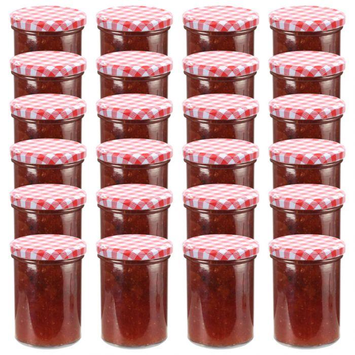 Стъклени буркани за сладко с бяло-червени капачки 24 бр 400 мл
