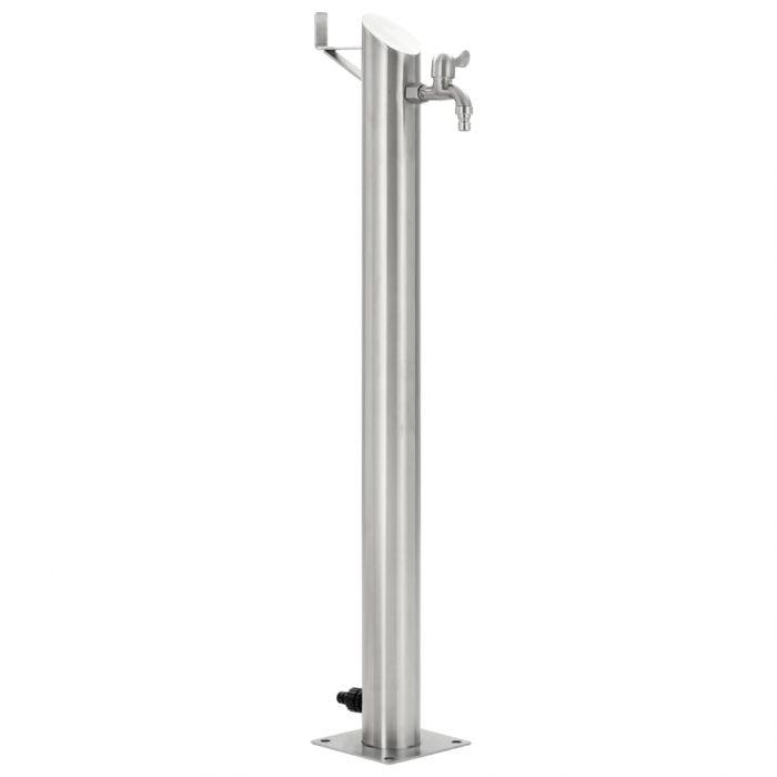 Градинска чешма, неръждаема стомана, кръгла колона, 95 см