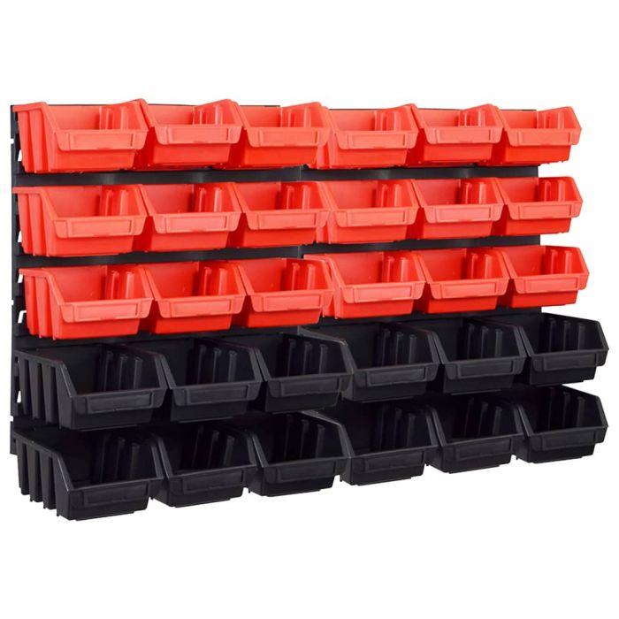 Стенен органайзер с 32 бр кутии за инструменти червено и черно