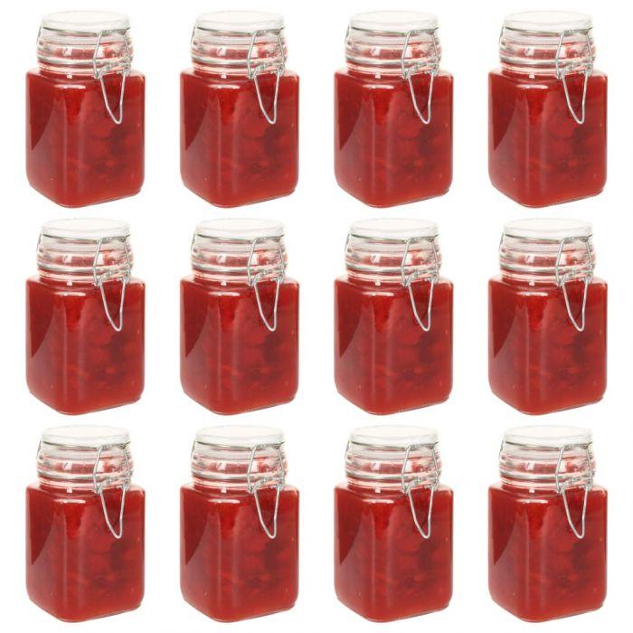 Стъклени буркани за сладко със заключващ механизъм 12 бр 260 мл