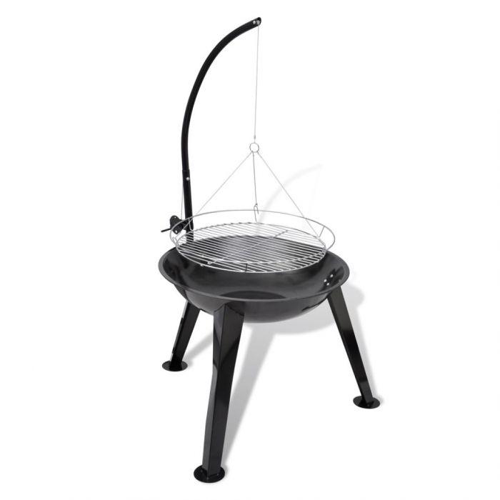 Барбекю на дървени въглища, кръгло, с висяща скара