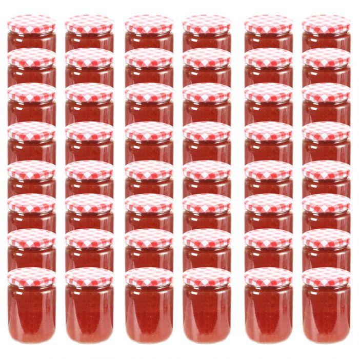 Стъклени буркани за сладко с бяло-червени капачки 48 бр 230 мл