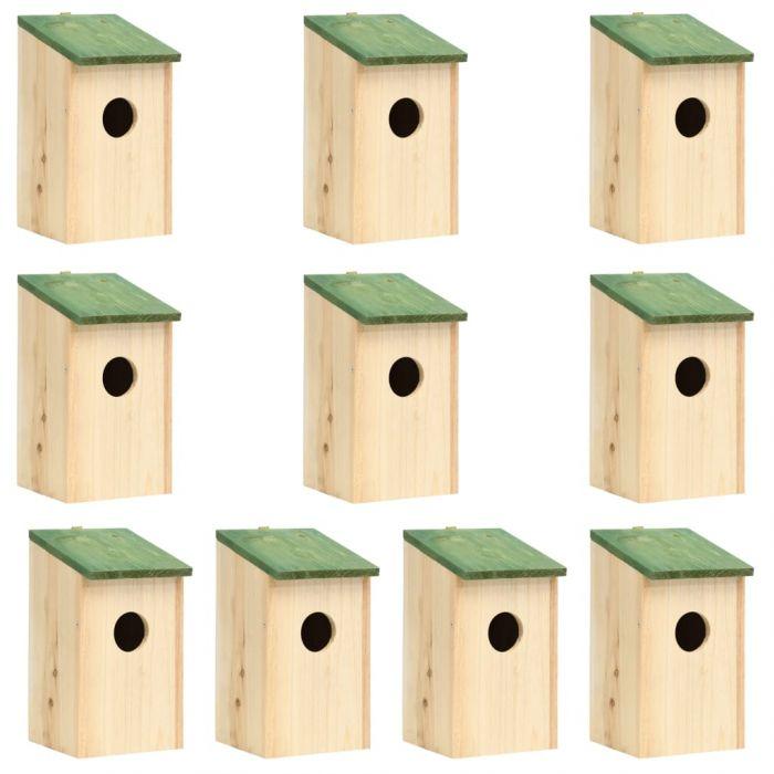 Къщи за птици, 10 бр, чам масив, 12x12x22 см
