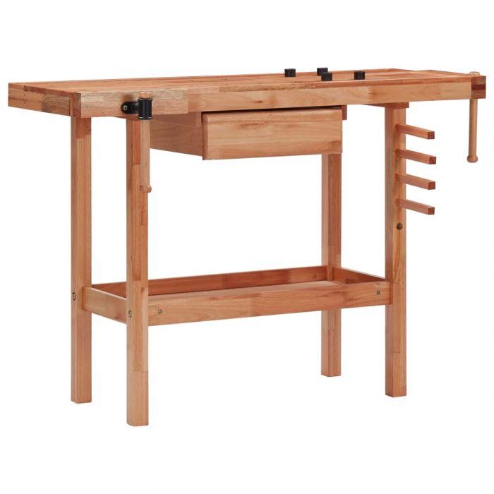 Дърводелски тезгях с чекмедже и 2 менгемета, твърда дървесина