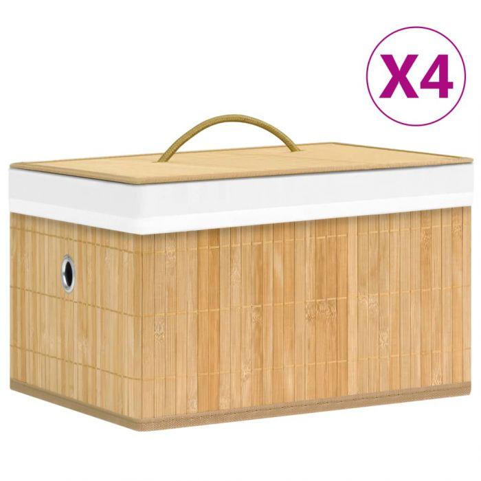 Бамбукови кутии за съхранение 4 бр