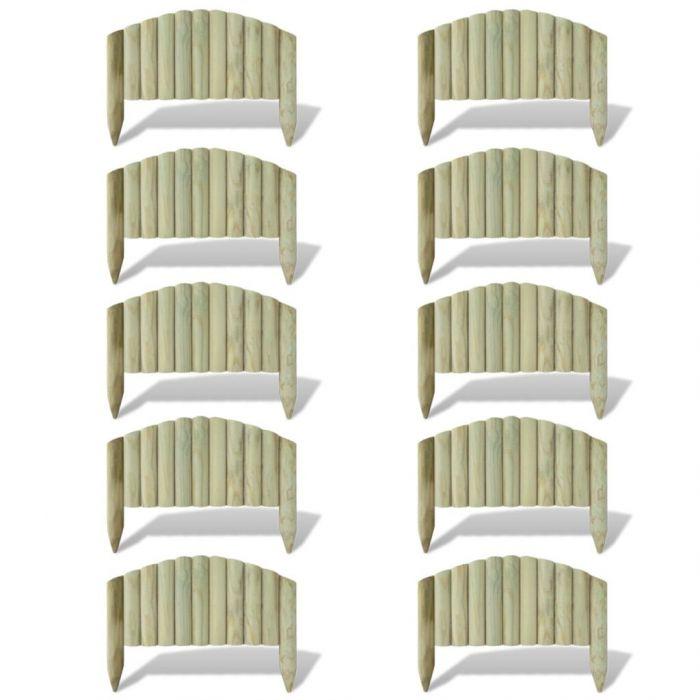 Мини оградни панели за лехи, 10 бр, дърво, 55 см