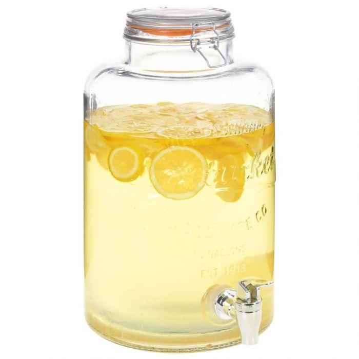 Диспенсър за вода XXL, с кран, прозрачен, 8 л, стъкло