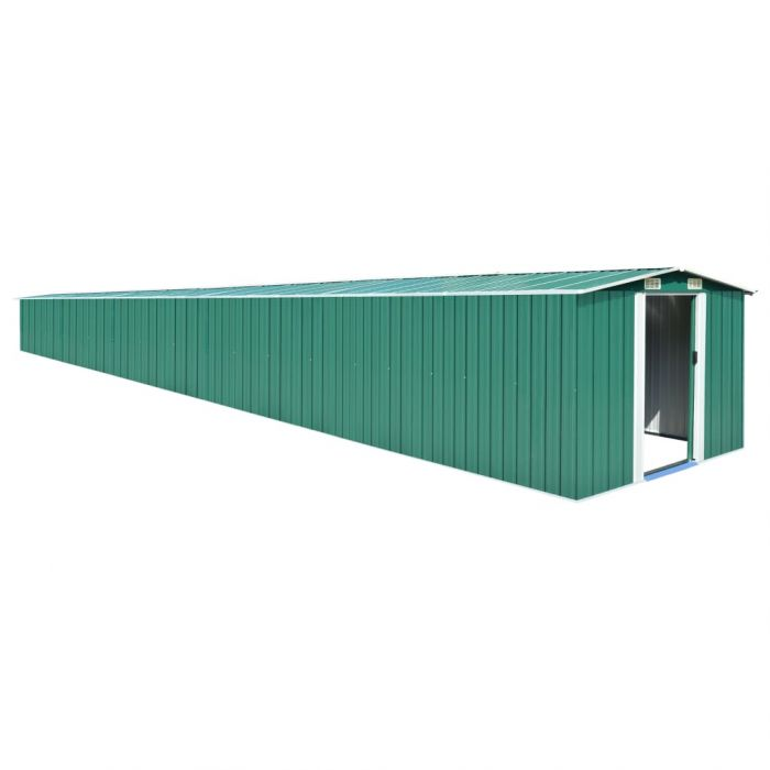 Градинска барака, зелена, 257x990x181 см, поцинкована стомана