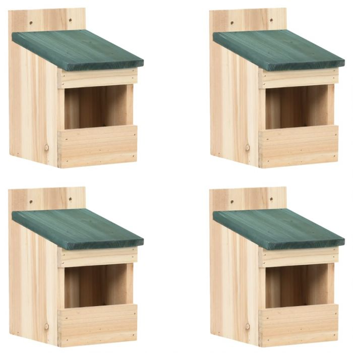 Къщи за птици, 4 бр, 12x16x20  см, чам