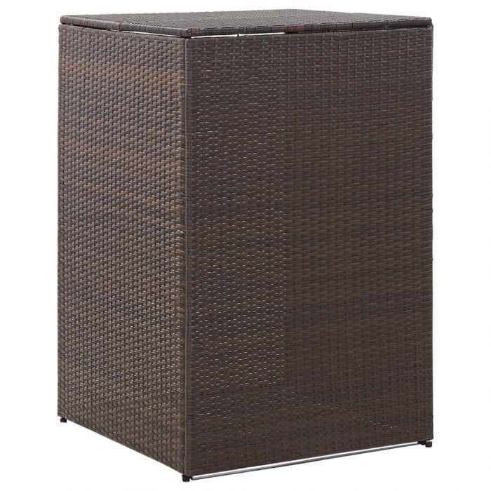 Единичен навес за кофа за смет кафяв 76x78x120 см полиратан