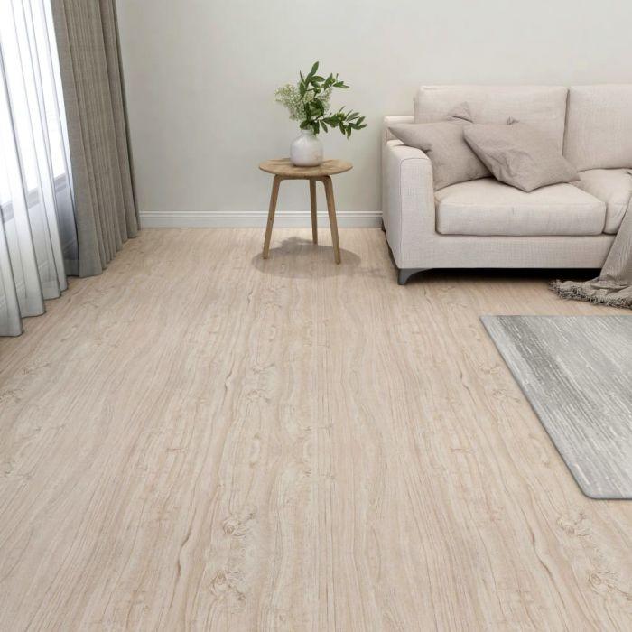 Самозалепващи подови дъски, 55 бр, PVC, 5,11 м², светлокафяви