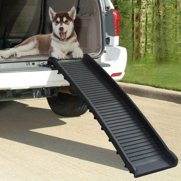 Сгъваема рампа за кучета, черна, 155,5x40x15,5 см