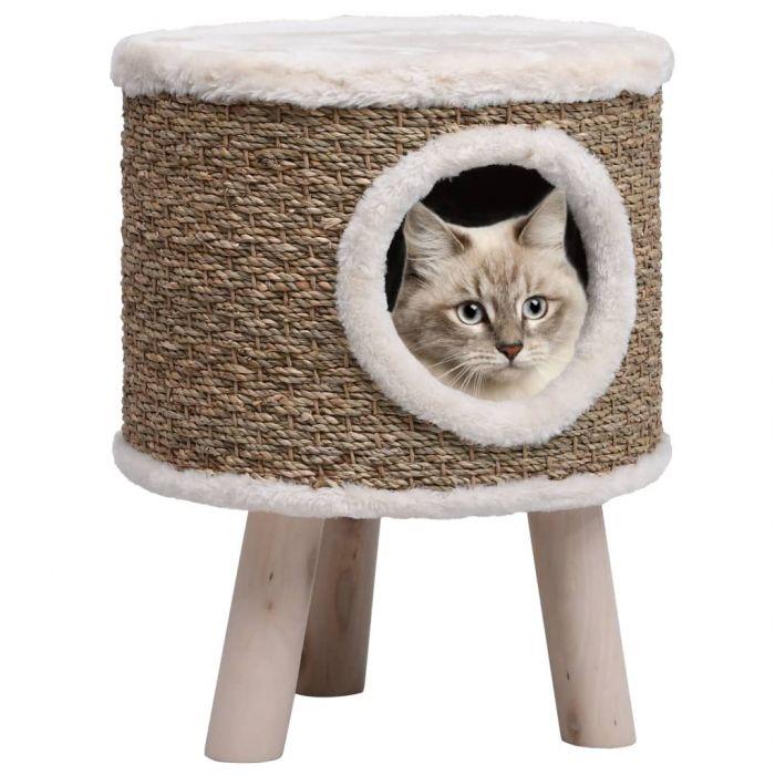 Къща за котки с дървени крака, 41 см, морска трева