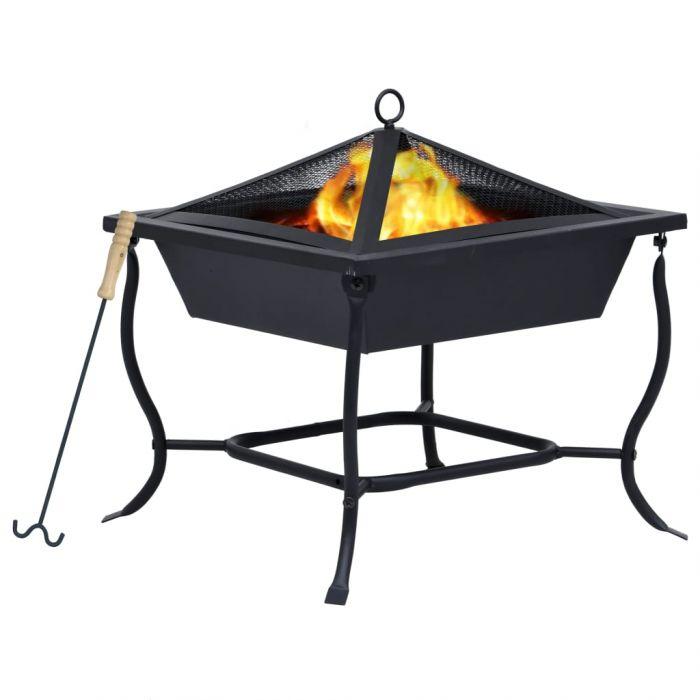Преносимо огнище, черно, 45x45x45 см, стомана