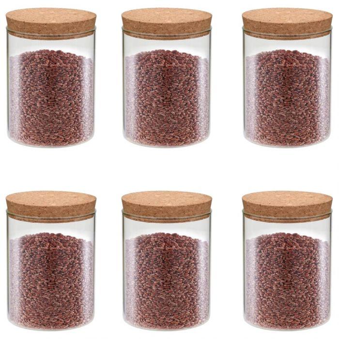 Стъклени буркани за съхранение с коркови капаци